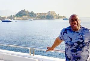 NBA Legend Magic Johnson Vacations on Corfu island in Greece